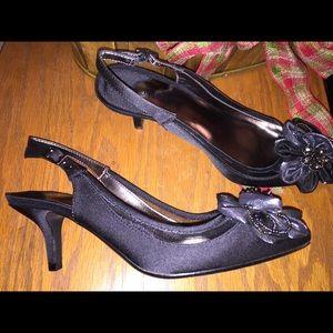 NIB J. Renee Adderley Black Crepe Satin Mesh Heels